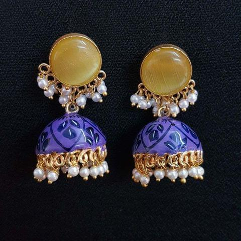 Yellow Painting Jhumki Earrings With Pearl Beading