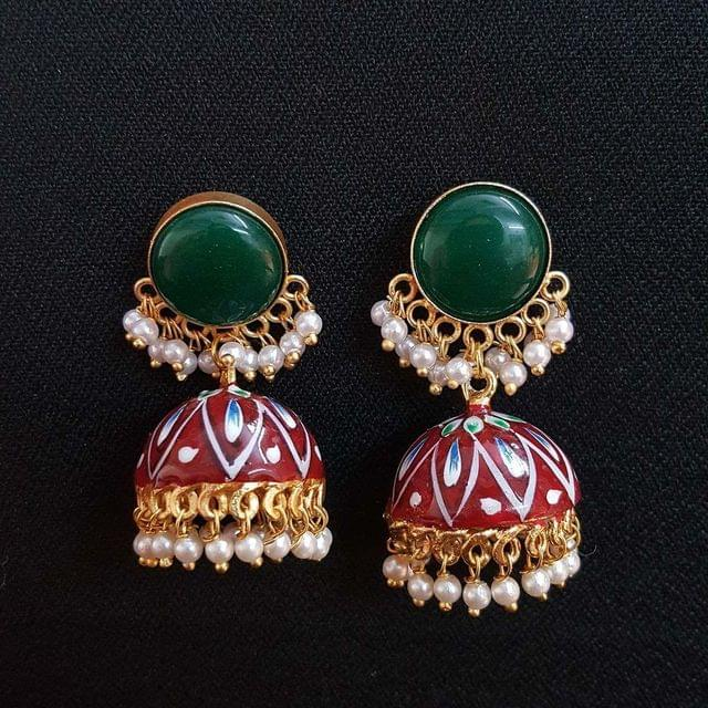 Green Painting Jhumki Earrings With Pearl Beading