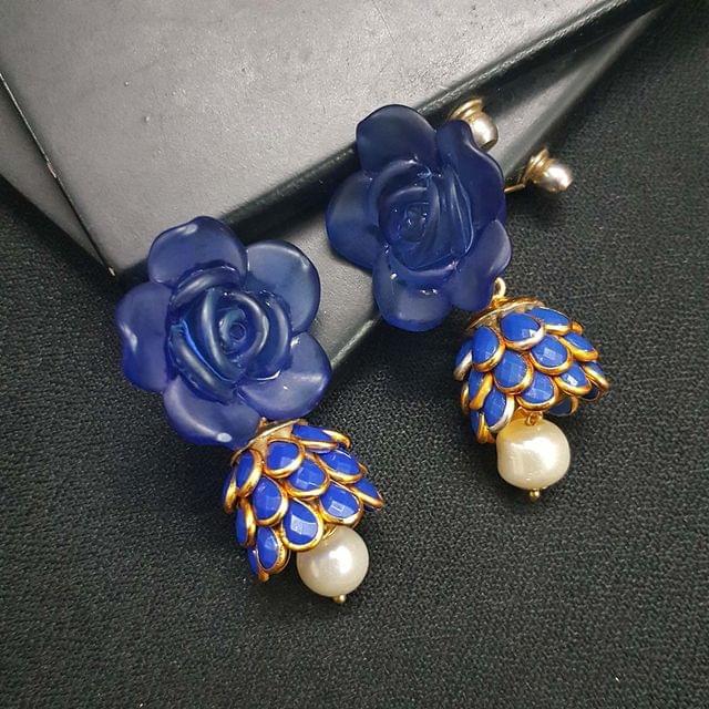 Blue Floral Stud Pachhi Jhumki