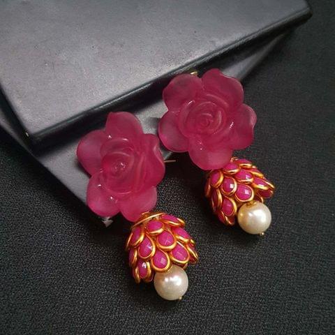 Pink Floral Stud Pachhi Jhumki