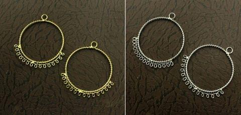 5 Pairs Metal Earrings Components Round 2 Inch