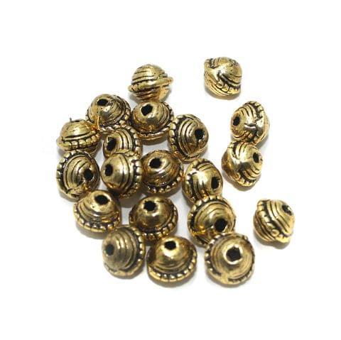 20 Pcs Golden German Silver Beads 9x11mm