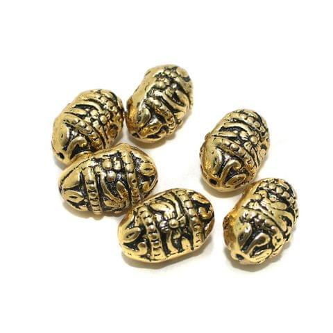 10 Pcs Golden German Silver Beads 21x14mm