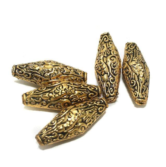 10 Pcs Golden German Silver Beads 37x14mm
