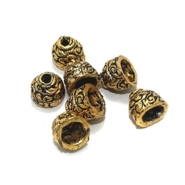 20 Pcs Golden German Silver Beads 12x12mm