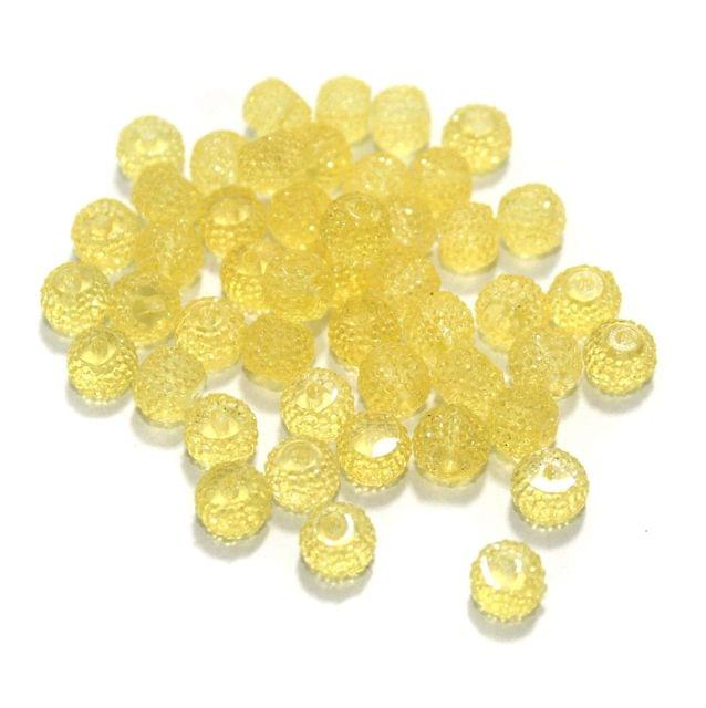 100 Pcs Acrylic Sugar Beads 7x8mm Yellow