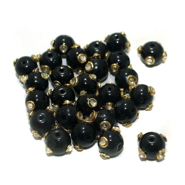50 Pcs Glass Kundan Beads Round 10mm Black