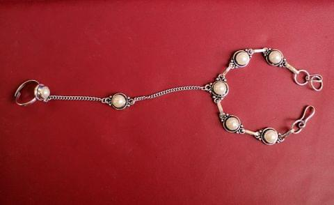 German Silver Stone Beaded Hathphool Off White