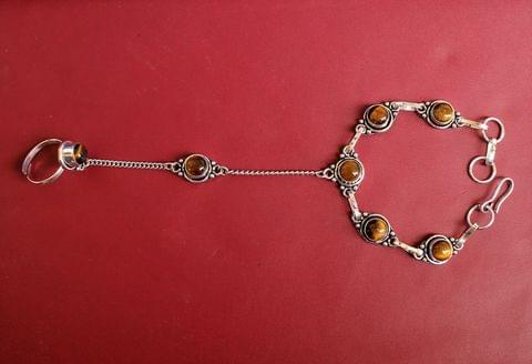 German Silver Stone Beaded Hathphool Golden