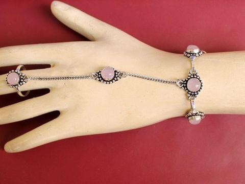 German Silver Stone Beaded Hathphool Pink