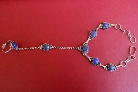 German Silver Stone Beaded Hathphool Blue