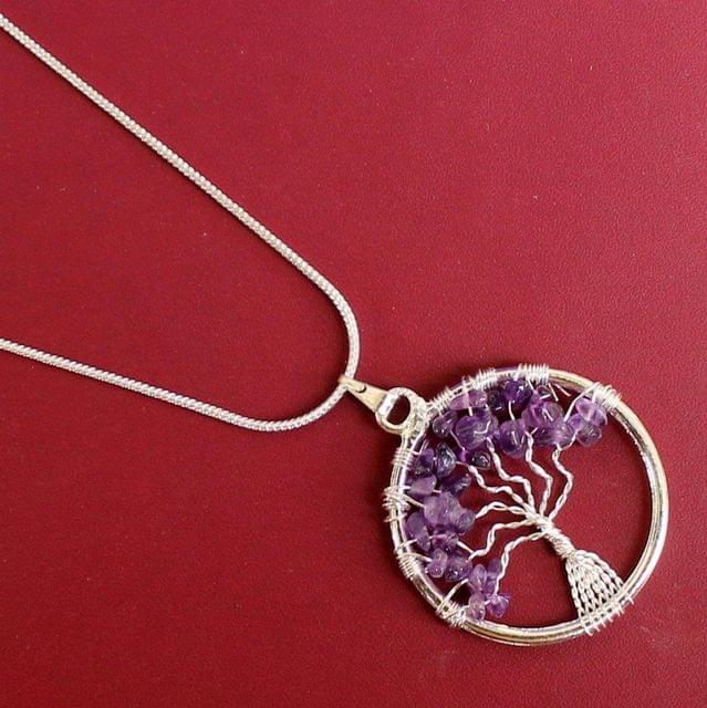 German Silver Chain With Tree Of Life Pendant Purple