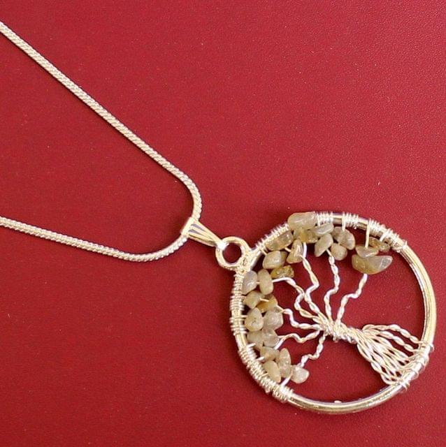 German Silver Chain With Tree Of Life Pendant Off white