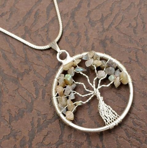 Moonstone Tree Of Life Necklace for Intuition, Sensuality and Self Travel