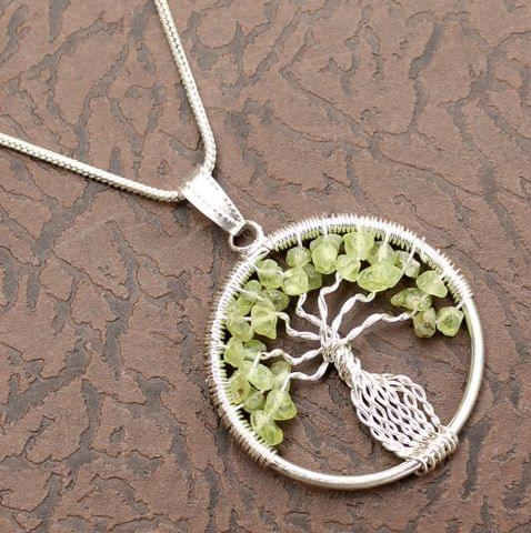 Green Aventurine Tree Of Life Necklace for prosperity, well being and Good Luck