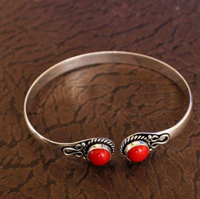 German Silver Adjustable Stone Bracelets Red