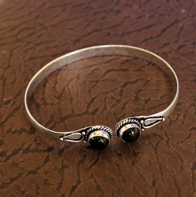 German Silver Adjustable Stone Kada Black