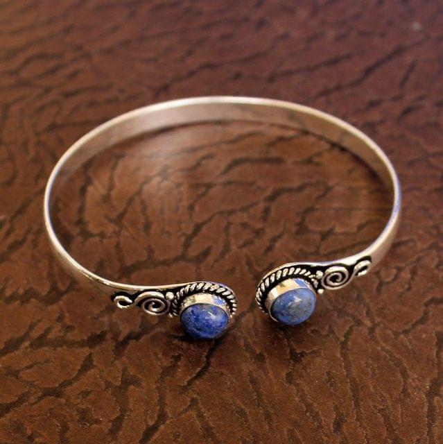 German Silver Adjustable Stone Kada Blue