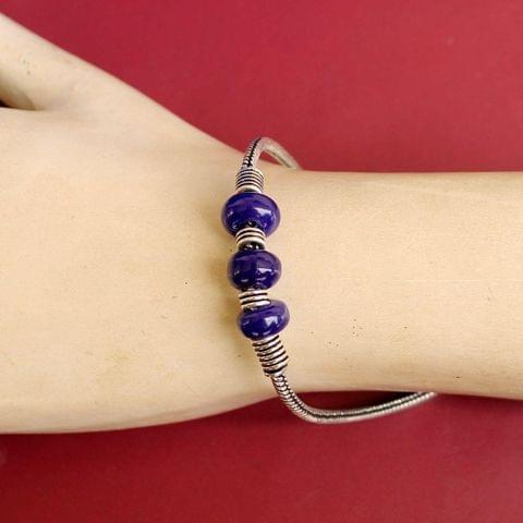 German Silver Trendy Beaded Bracelet Blue