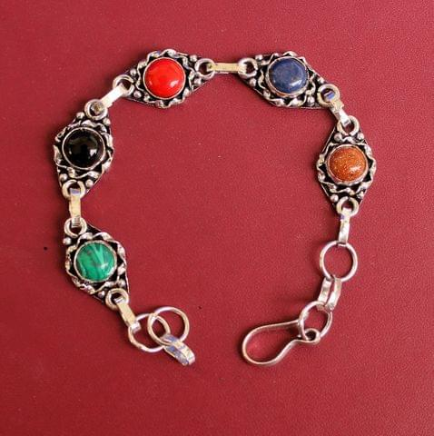 German Silver Stone Beaded Trendy Bracelets Multicolor