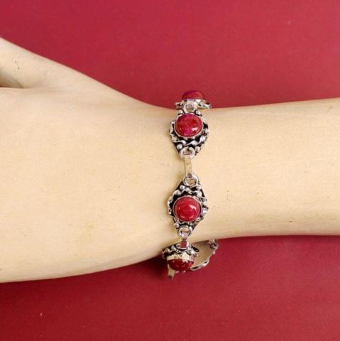 German Silver Stone Beaded Trendy Bracelets Maroon