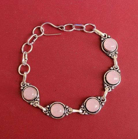 German Silver Stone Beaded Trendy Bracelets Pink
