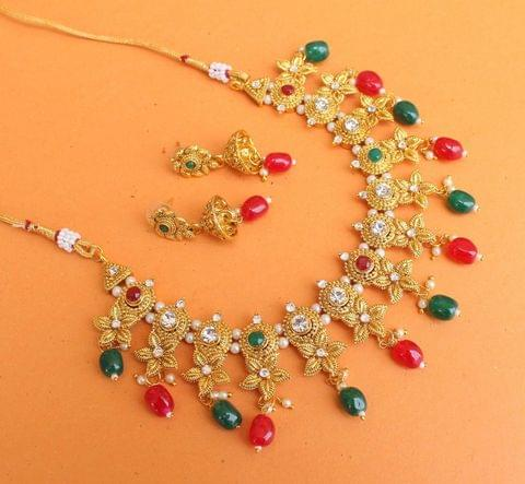 Gold Plated Kundan Beaded Necklace Set With Earrings