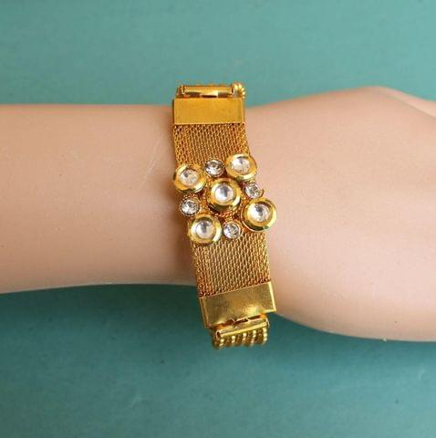 Gold Plated Kundan Chain Bracelet