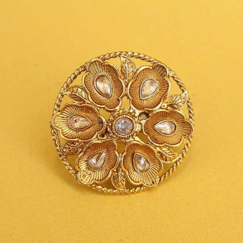 Golden Adjustable Kundan Finger Rings