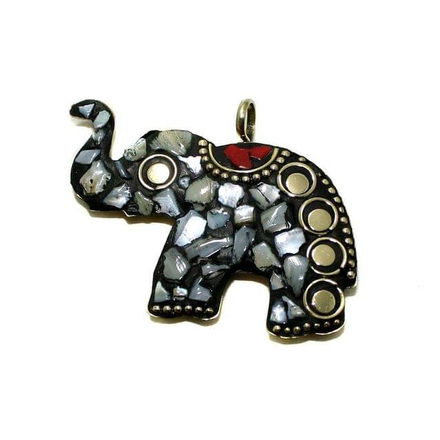 1 Pc Tibetan Pendant Elephant Multicolor 2 Inch