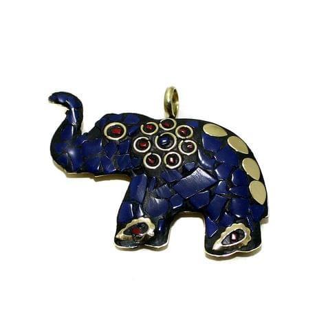 1 Pc Tibetan Pendant Elephant Multicolor 2 Inch
