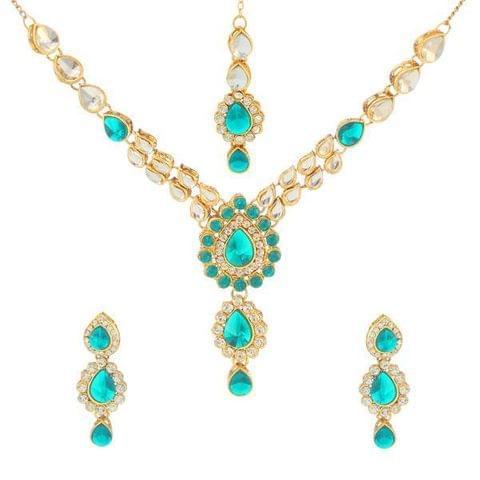 Kundan Necklace Set With Maang Tikka
