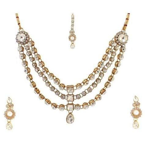 Kundan Necklace Set With Maang Tikka
