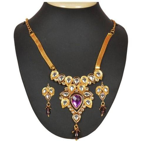 Purple Stone And kundan Necklace Set