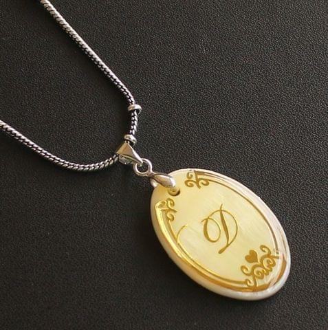 German Silver Chain With Alphabet 'D' Shell Pendants