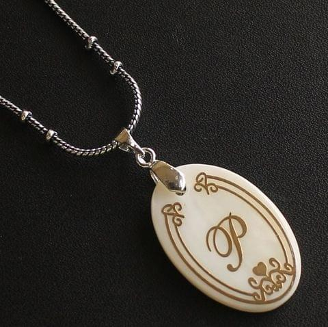 German Silver Chain With Alphabet 'P' Shell Pendants