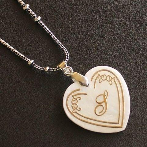 German Silver Chain With Alphabet 'S' Shell Pendants
