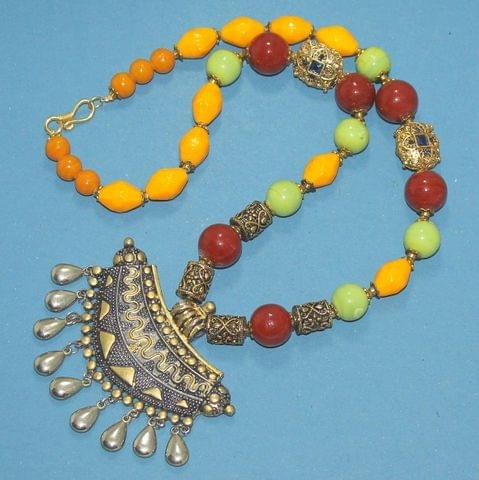 German Silver Beaded Necklace Set