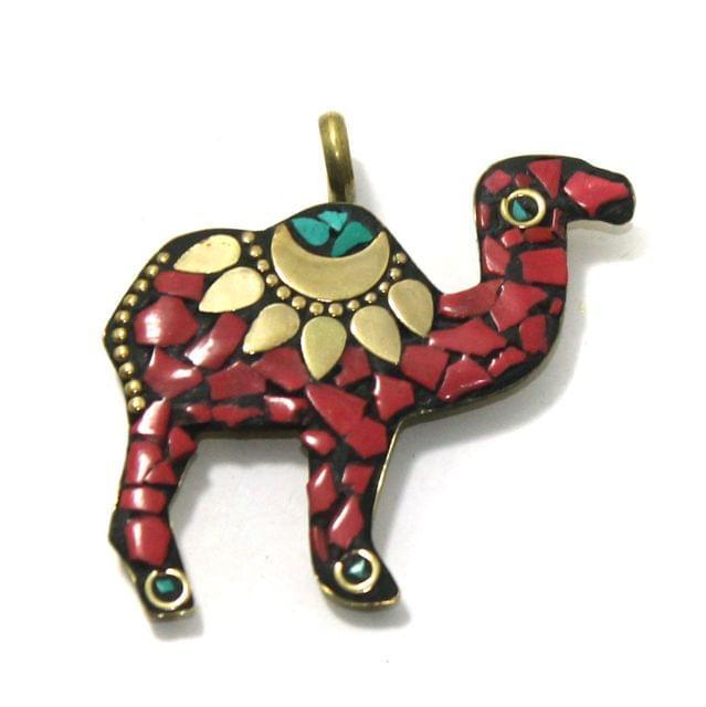 1 Pc Tibetan Pendant Camel Multicolor 2 Inch