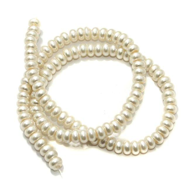 Beadsnfashion Glass Pearl Round Beads White for Jewellery Making, Beading, Arts and Crafts and Embroidery Work, Size 6x3 mm
