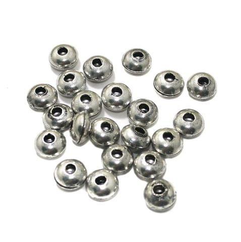 50 Pcs German Silver 10x6mm Beads Silver