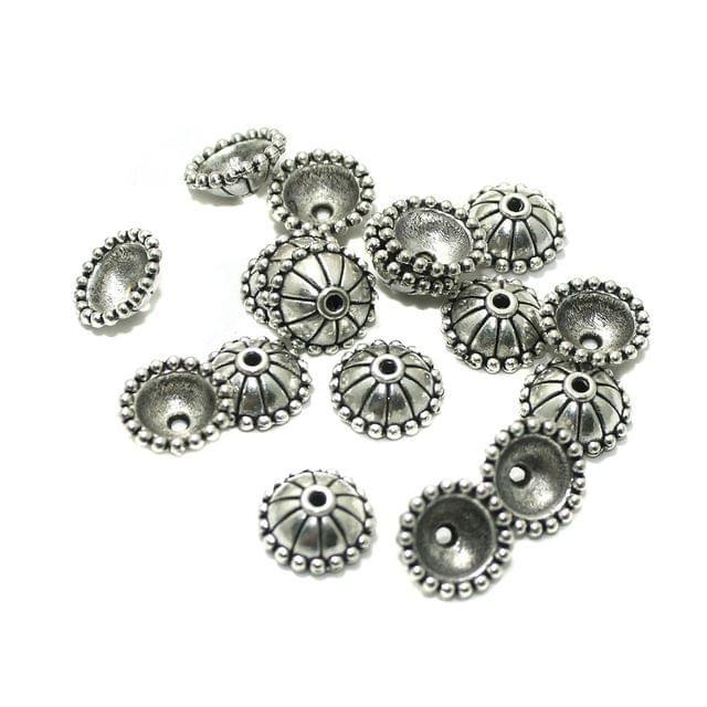 50 Pcs German Silver 10x4mm Beads Caps Silver