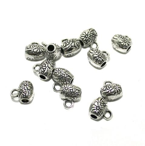 20 Pcs German Silver 10x8mm Charms Silver
