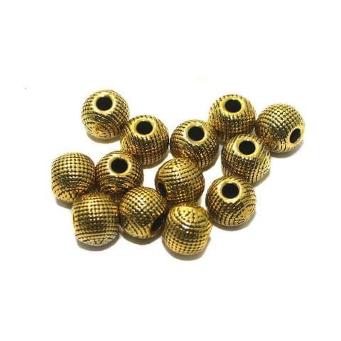 20 Pcs German Silver 7x8mm Beads Golden