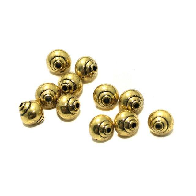 20 Pcs German Silver 8x8mm Beads Golden