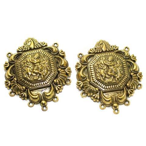 2 Pcs German Silver 63x53mm Pendants Golden