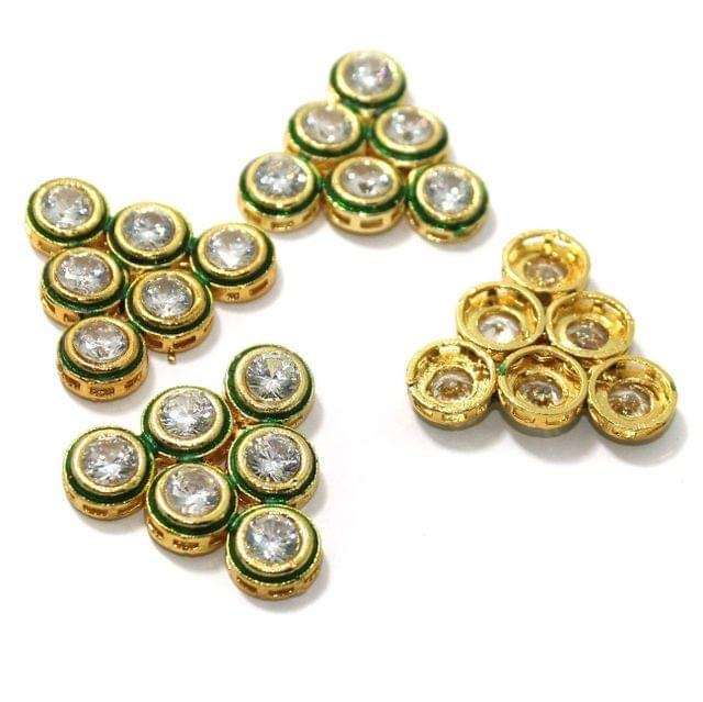 4 Pcs Kundan Connectors 28x30mm Golden