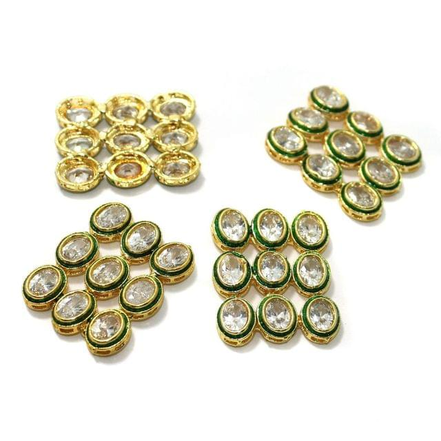 4 Pcs Kundan Connectors 33x26mm Golden
