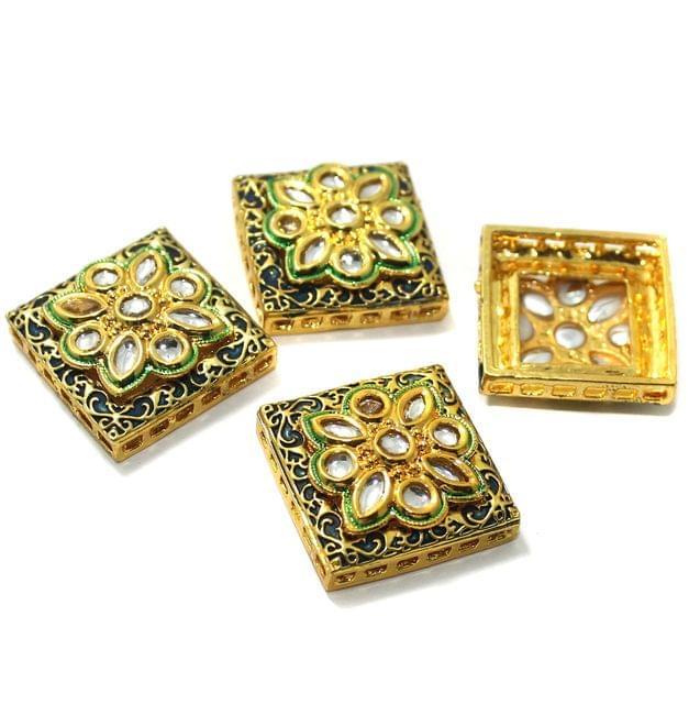 4 Pcs Kundan Connectors 25x25mm Golden