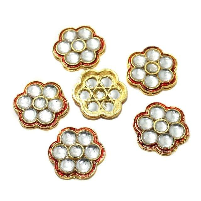 12 Pcs Kundan Connectors 21x21mm Golden